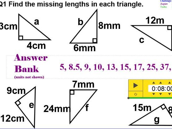 Pythagoras Theorem: a sequence of lessons.