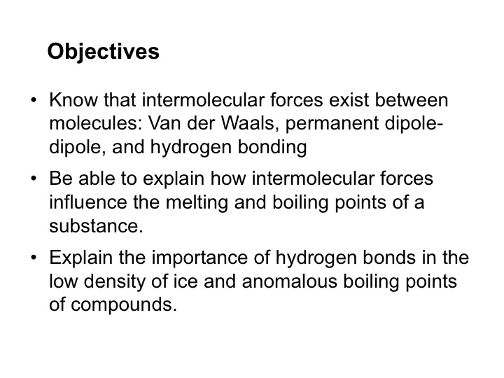 Powerpoint introducing the three types of intermolecular force