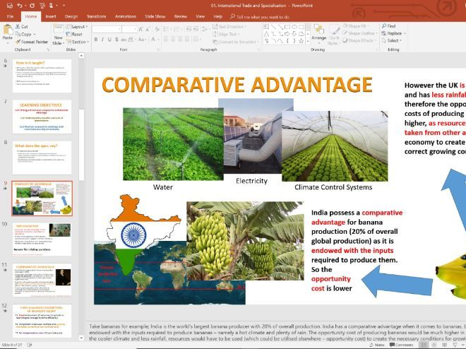 01. Trade Comparative Advantage (Slides, Activities and Notes) - Edexcel A-Level Economics - Theme 4