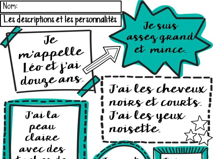 French Descriptions Worksheet