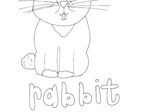 Rabbit: Animals and Pets: Colouring Page