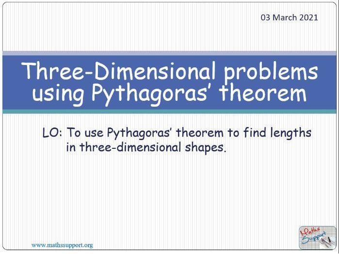 Using Pythagoras' theorem to solve 3D problems