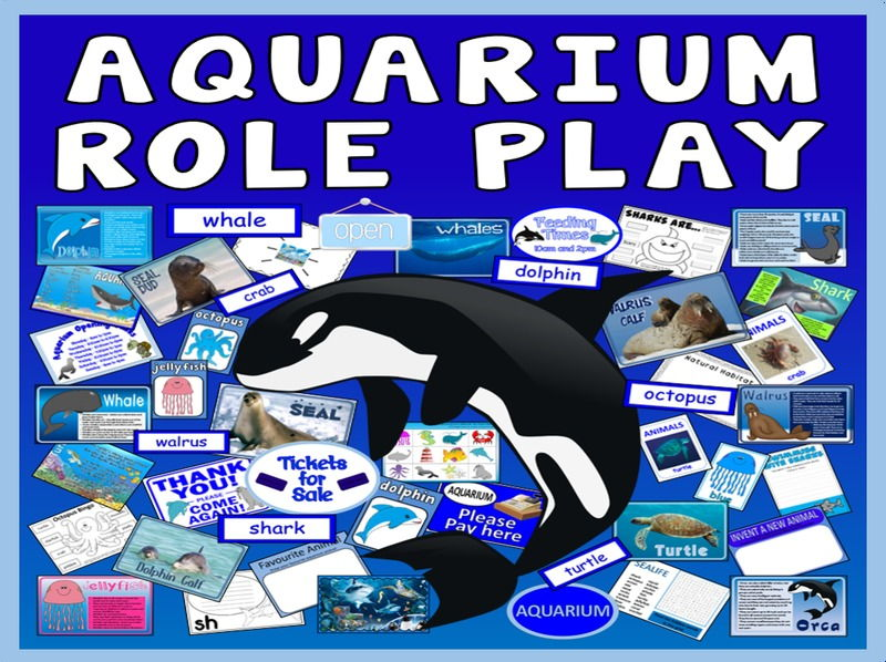 AQUARIUM  ROLE PLAY TEACHING RESOURCES EYFS KS1-KS2 ANIMALS SCIENCE