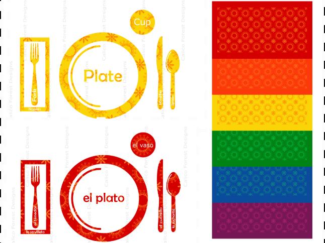 Bilingual Set of 12 Spanish + English Placemats Table Setting Montessori Waldorf