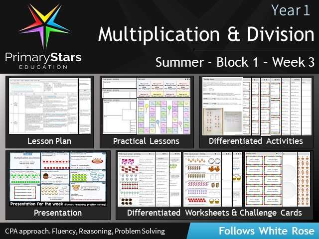 YEAR 1 - Multiplication & Division - White Rose - WEEK 3 - Block 1 - Summer- Differentiated Pack