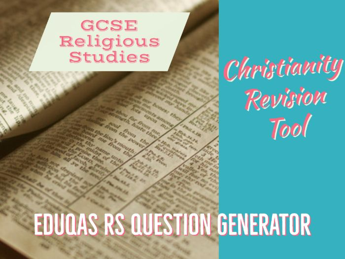 Eduqas GCSE Religious Studies test questions - Christianity units