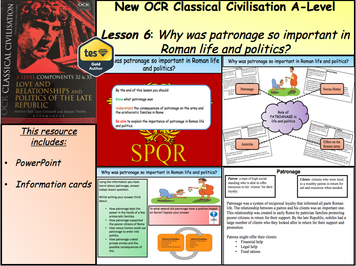 Why was Patronage so important in Roman life and politics? - Lesson 6(Politics of the Late Republic)