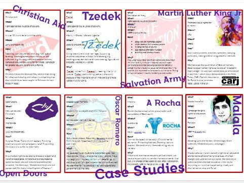 GCSE Religious Studies: Case Studies Information, Learning Mat and Revision Cards
