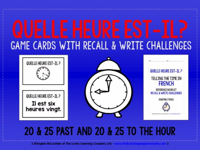 FRENCH TELLING THE TIME (3) - MATCHING CARDS & RECALL CHALLENGES