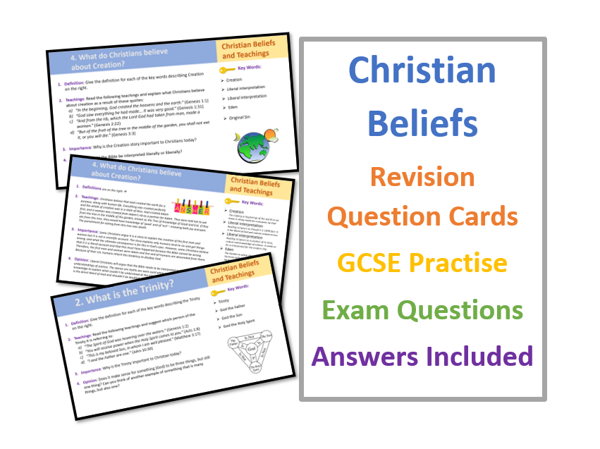 GCSE Christian Beliefs and Teachings Revision Question Cards