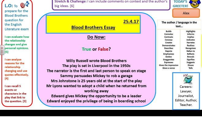 Blood Brothers exam style essay question practice