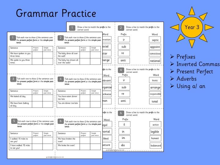 Grammar Practice- Year 3
