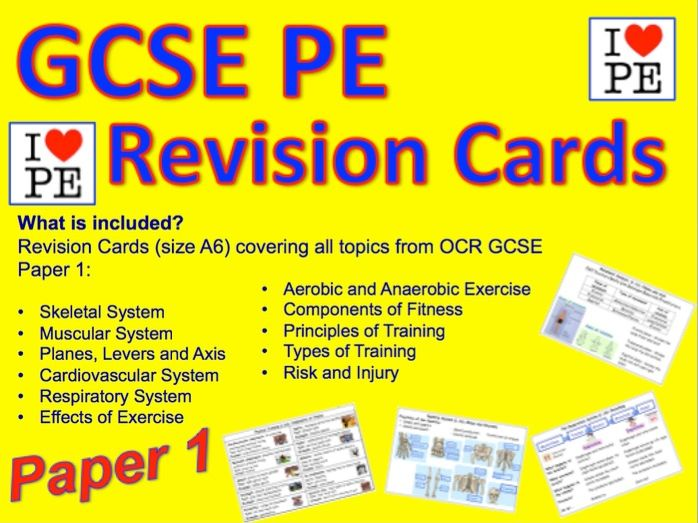 GCSE OCR PE Paper 1 Revision Cards