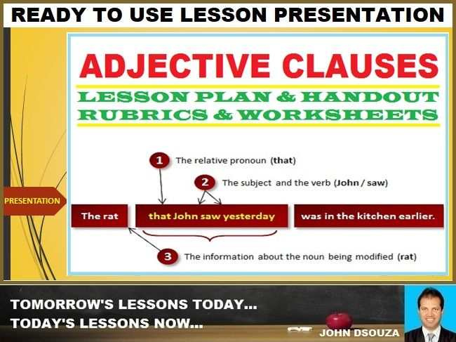ADJECTIVE CLAUSE: READY TO USE LESSON PRESENTATION