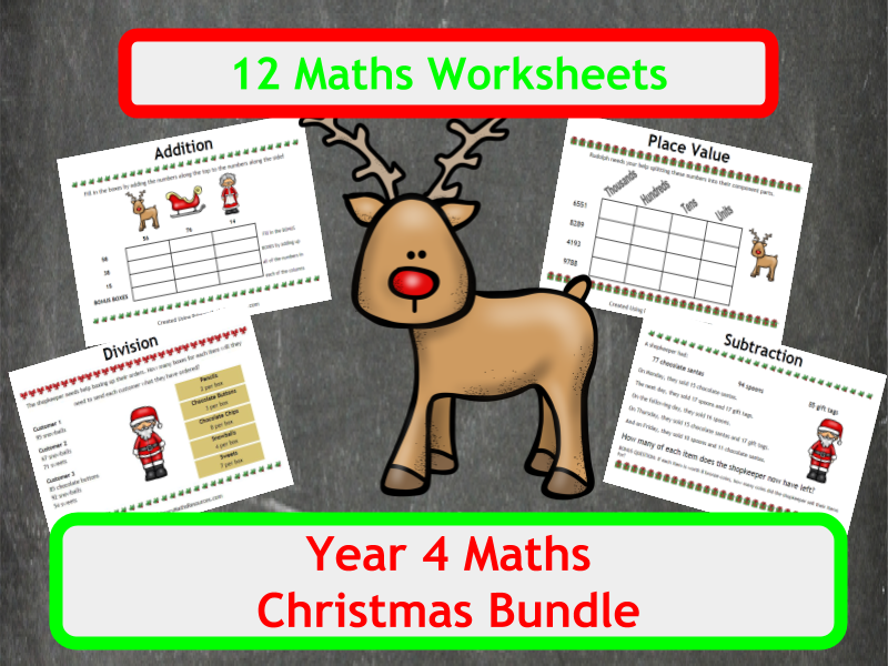 Christmas Maths Worksheets - Year 4