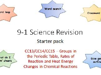 C13,14,15 Groups, Rates of Reaction and Heat Energy Changes Revision starter pack Science 9-1