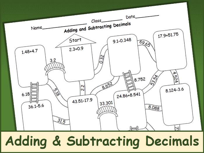 Adding and Subtracting Decimals Maze
