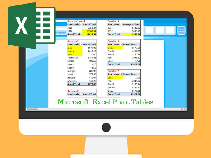 Excel Pivot Table Exercise / Task
