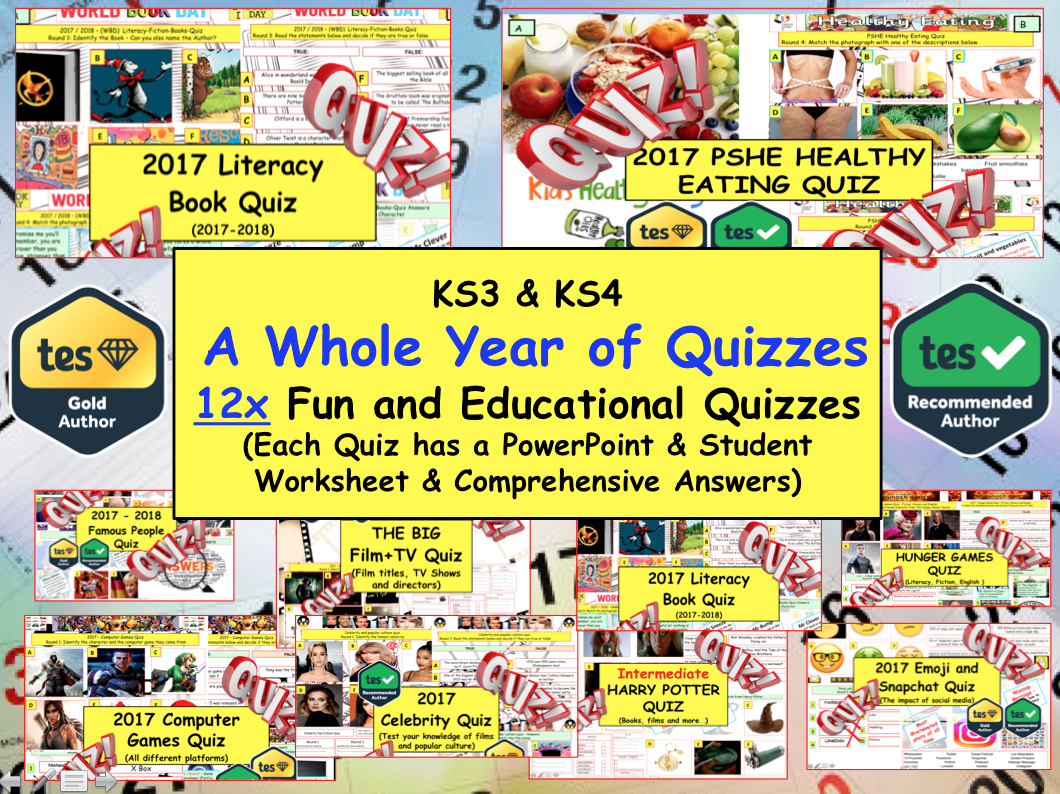 Whole Year of Quizzes - 12x Fun Educational Quiz . Back to School
