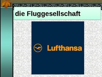Fliegen (Air travel in German) power point