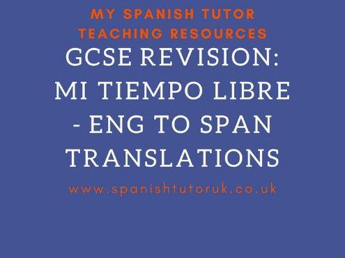 Mi Tiempo Libre Translations English to Spanish