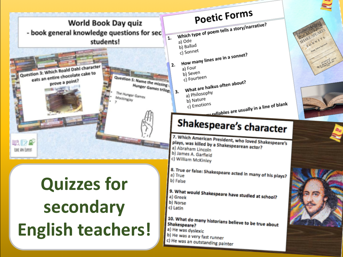 Quizzes for secondary English teachers!