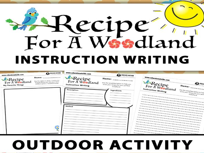 Recipe For A Woodland Instruction Writing Activity