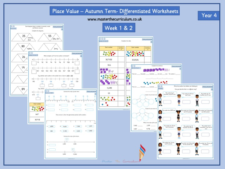 year 4 autumn term block 1 week 1 2 place value differentiated worksheets by. Black Bedroom Furniture Sets. Home Design Ideas