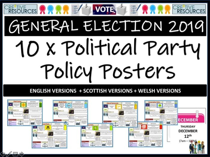 2019 General Election Political Party Policy Posters