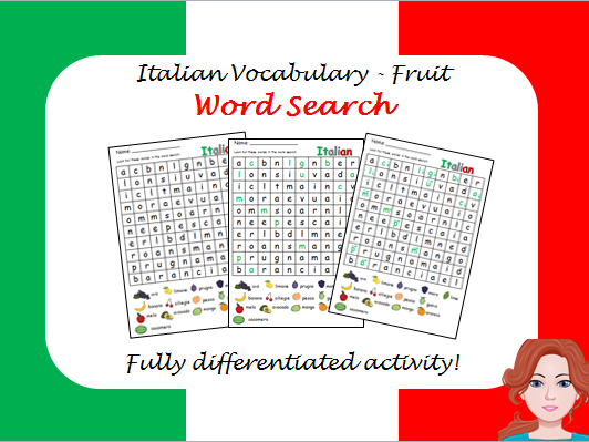 Italian vocabulary: Fruit - wordsearch (differentiated)