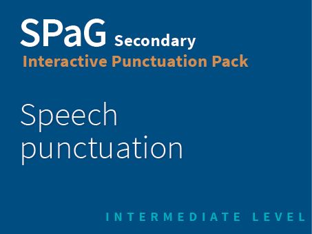 SPaG Secondary Interactive Punctuation Pack - Speech punctuation (Intermediate Level)