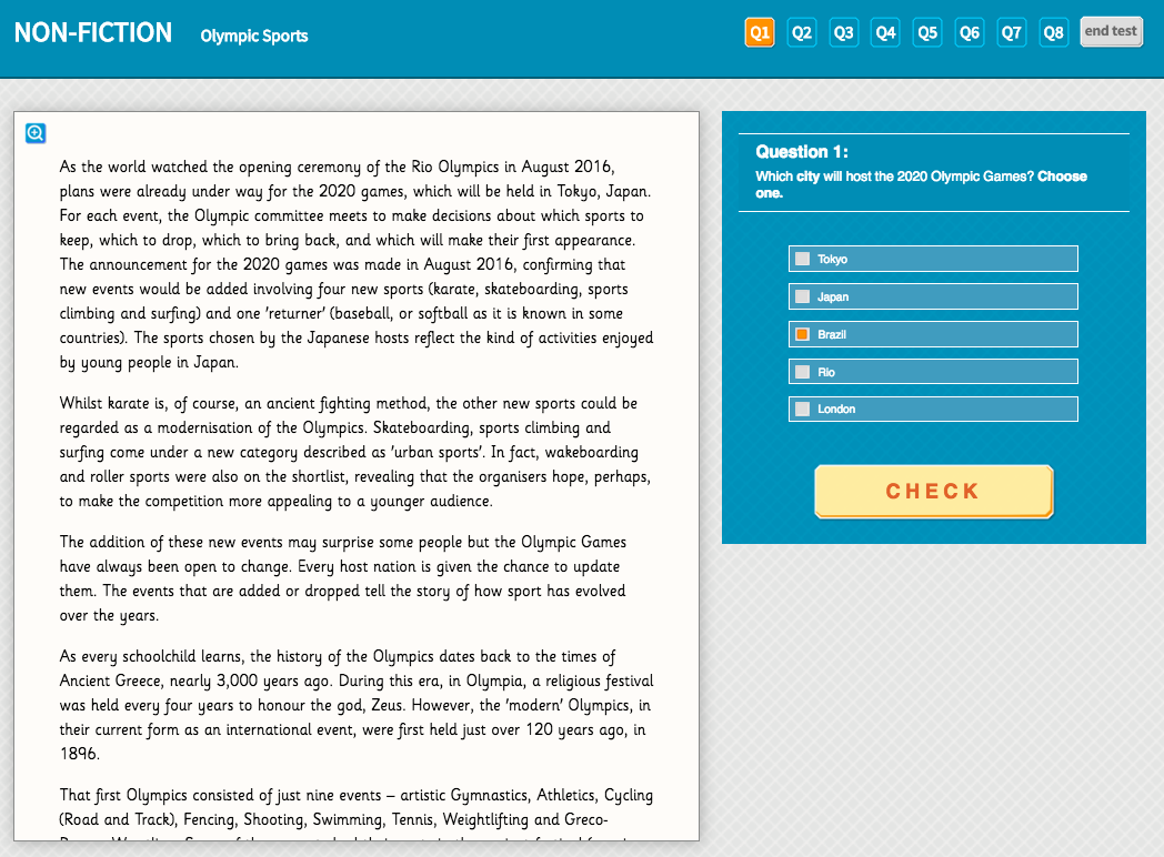 Olympic Sports - Interactive Exercise - Year 4 Reading Comprehension (Non-fiction)