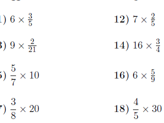 Multiplying and dividing fractions and whole numbers worksheets (with solutions)