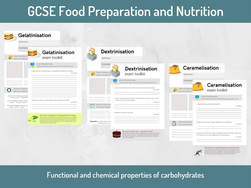 Food science: Carbohydrates worksheets and exam questions (GCSE Food Preparation and Nutrition)
