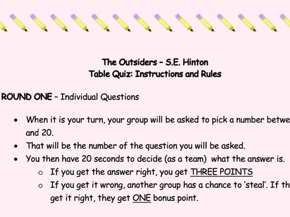 The Outsiders - Table Quiz