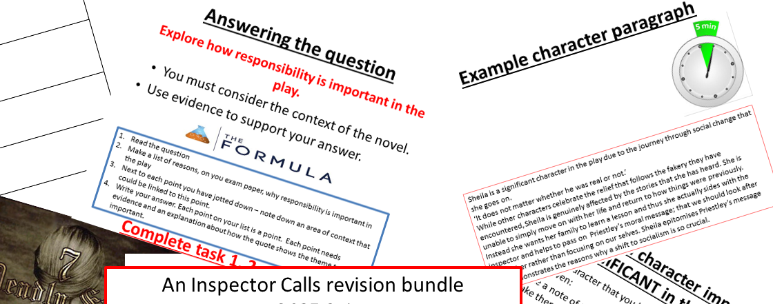 An Inspector Calls exam revision bundle GCE English literature 9-1