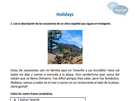 Spanish - Holidays - New GCSE-style activities