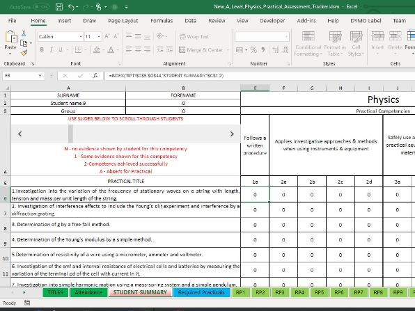AQA A Level Physics Required Practical Tracker including Sub Competencies