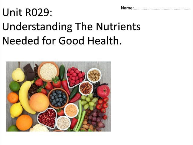 OCR Cambridge National level 1/2 Health and Social Care- Unit R029 Nutrition CW help sheets
