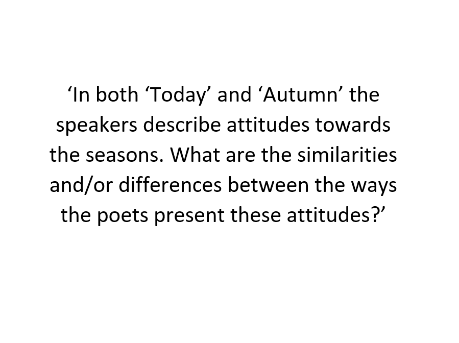 GCSE Unseen Poetry Comparison- example answer