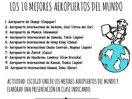 Vocabulary and speaking activities on topic travelling by plane and airports (Spanish)