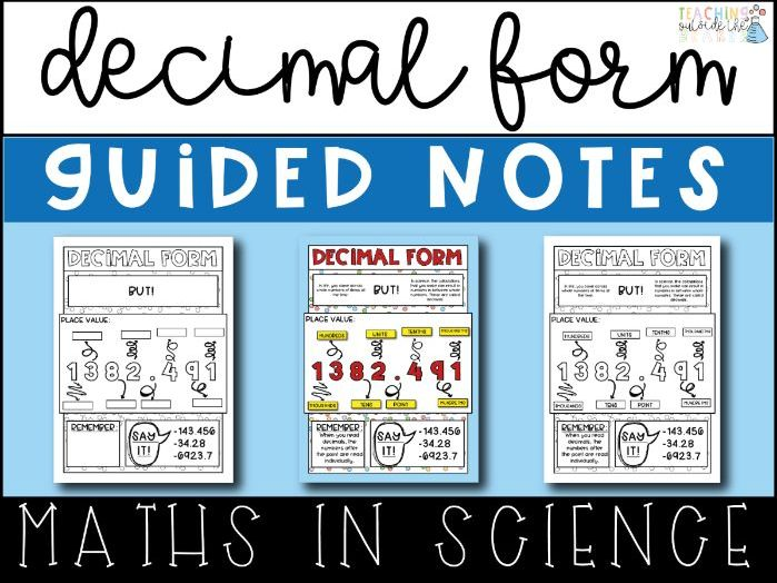 Decimal Form Guided Notes - Math Skills In Science