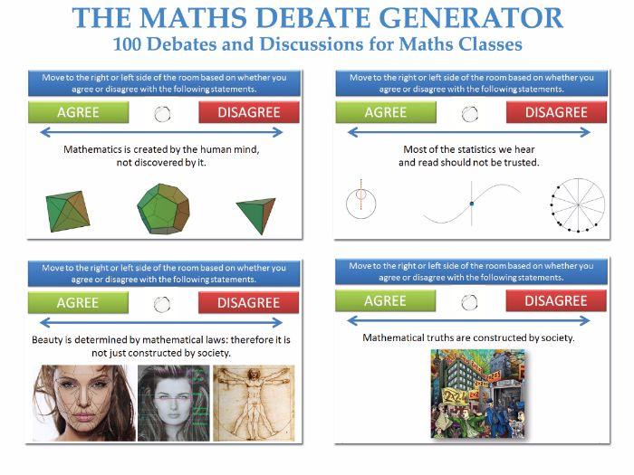 The Maths Debate Generator (100 Debates and Discussions + Randomiser) [P4C] [Cross-Curricular] [Fun]