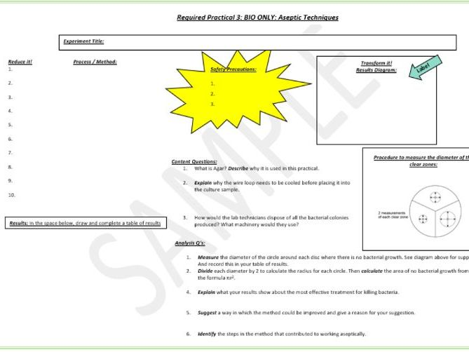AQA Biology - Required Practical Placemat Sheets - Combined and Triple Science