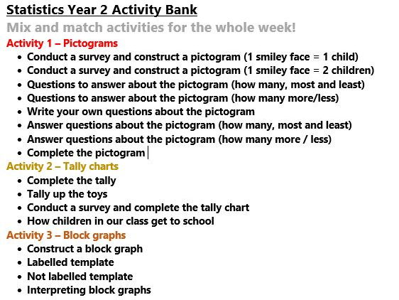 Statistics Pictograms Charts Graphs Year 2 Activity Bank (Differentiated)
