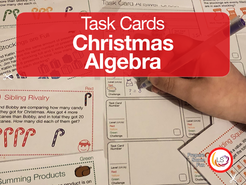 Algebra Task Cards Christmas Themed
