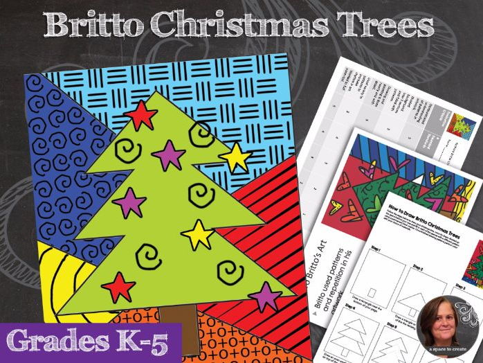 Pattern Christmas Trees  - Christmas Art Activity - Britto Christmas Trees