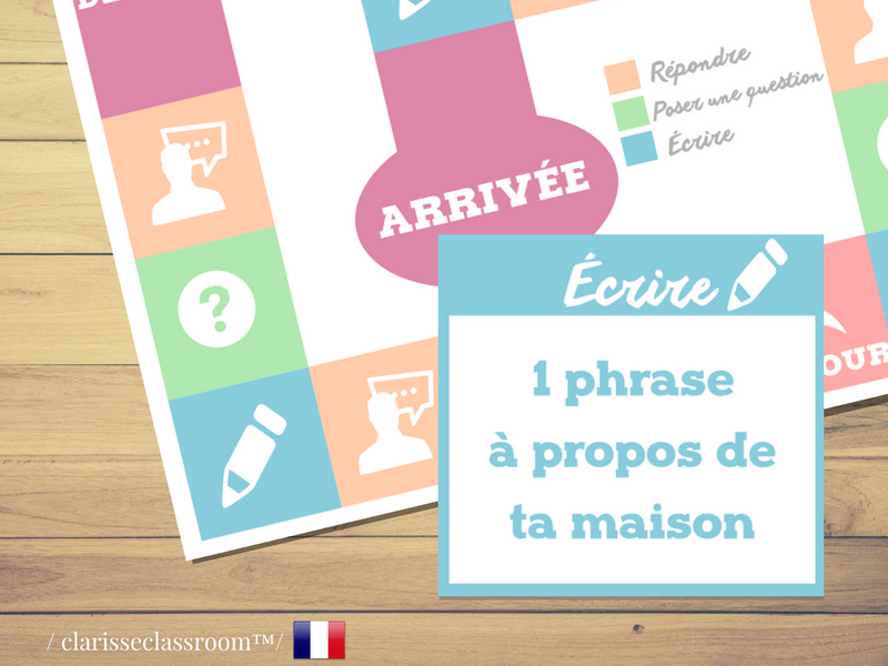 French Board Game⎜Ask questions, answer and write ⎜Printable Board Game⎜Learning French