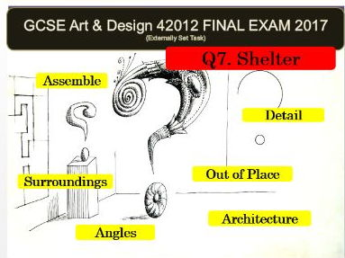 AQA Art and Design GCSE 2017 (42012) - Unit 2 EXAM VISUAL POWERPOINT FOR Q7 SHELTER