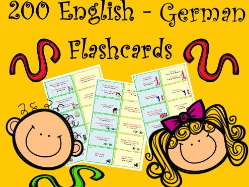 200 Bilingual English - German Vocabulary and Usage Flashcards